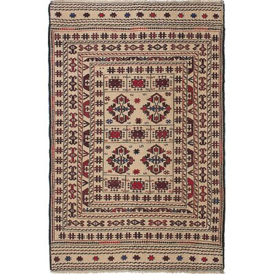 Shiravan Hand-Woven Ivory/Red Area Rug