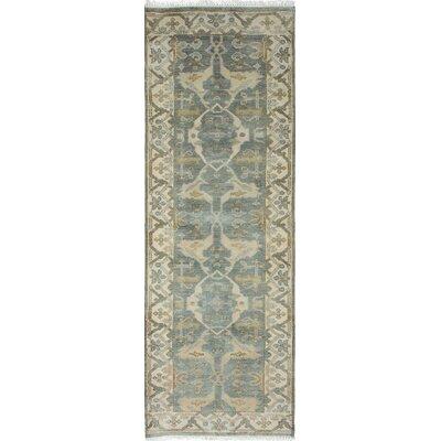 Royal Ushak Hand-Knotted Turquoise Area Rug