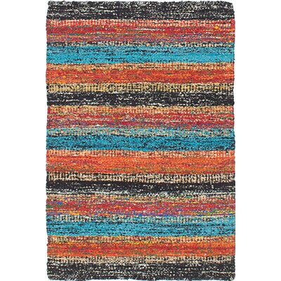 Sari Hand-Woven Black/Red Area Rug