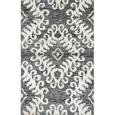 One-of-a-Kind Sari Hand-Woven Black/Cream Area Rug