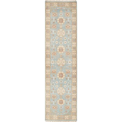 Stonewash Ushak Hand-Woven Light Blue Area Rug Rug Size: Runner 210 x 102