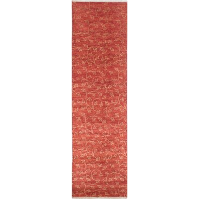 Chobi Twisted Hand-Woven Dark Red Area Rug