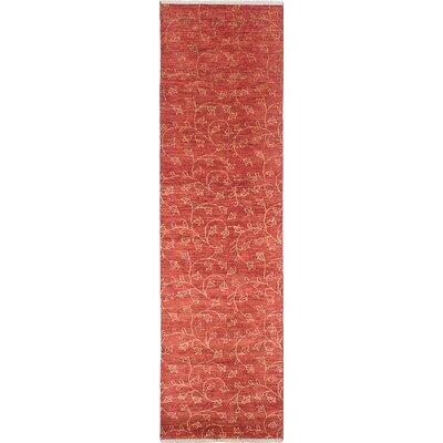 Chobi Twisted Hand-Woven Dark Red Area Rug