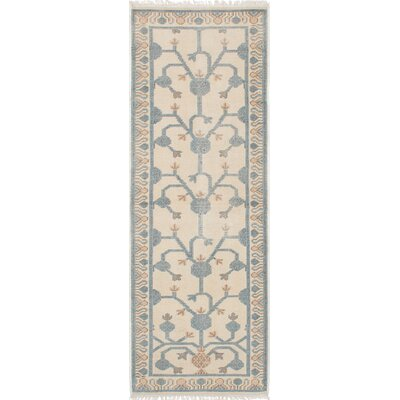 Stonewash Ushak Hand-Woven Cream Area Rug Rug Size: Rectangle 3 x 8