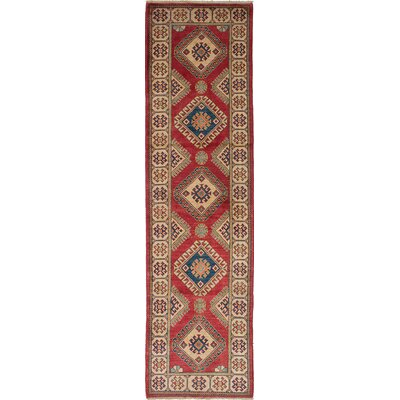 One-of-a-Kind Bernard Wool Hand-Woven Cream/Red Area Rug
