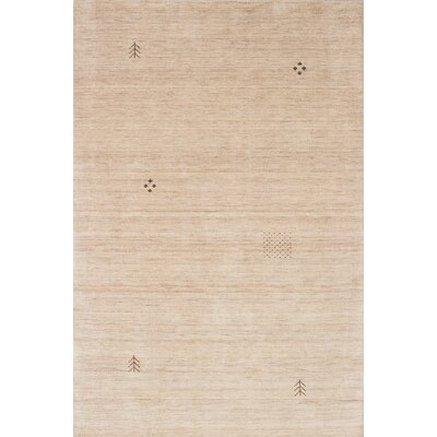 Luribaft Gabbeh Riz Hand-Woven Cream Area Rug Rug Size: 6 x 9