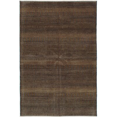 One-of-a-Kind Shevra Hand-Woven Black/Brown Area Rug