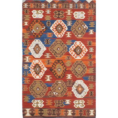 Antalya Hand-Woven Red/Orange/Brown Area Rug Rug Size: 5 x 8