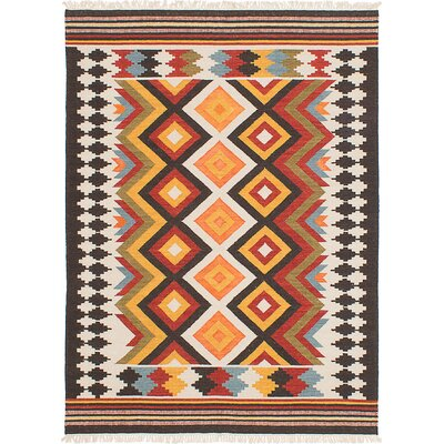 Mamaris Hand-Woven White/Orange/Red Area Rug Rug Size: 8 x 10