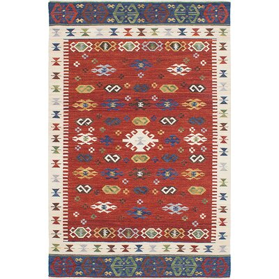 Antalya Hand-Woven Red/Beige Area Rug Rug Size: 5 x 8