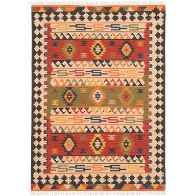 Mamaris Hand-Woven Red/Orange/Brown Area Rug Rug Size: 4 x 6