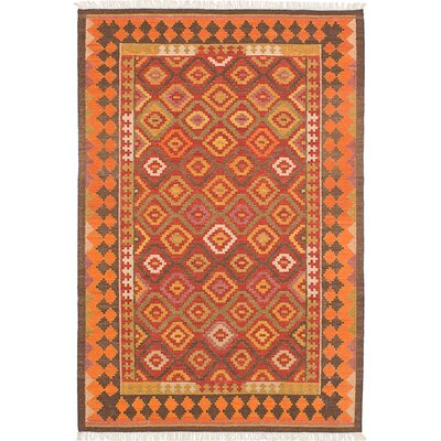 Mamaris Hand-Woven Red/Orange Area Rug Rug Size: 5 x 8