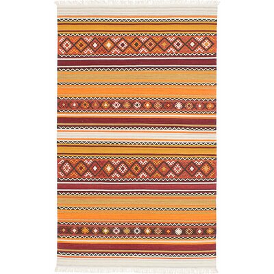 Adana Hand-Woven Red/Orange Area Rug Rug Size: 4 x 6