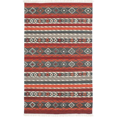 Adana Hand-Woven Red/Gray Area Rug Rug Size: 5 x 8