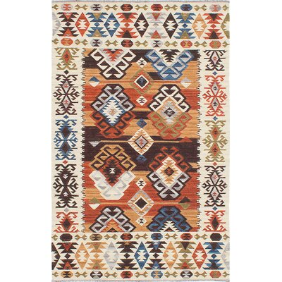Antalya Hand-Woven Beige/Blue/Orange Area Rug Rug Size: 5 x 8
