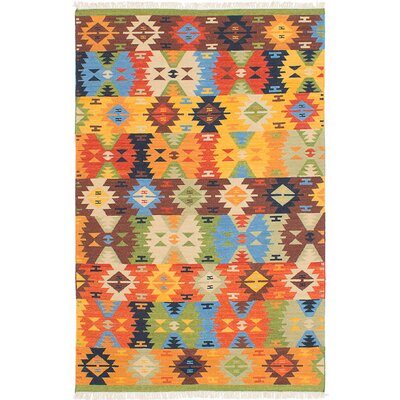 Mamaris Hand-Woven Blue/Orange/Brown Area Rug Rug Size: 5 x 8
