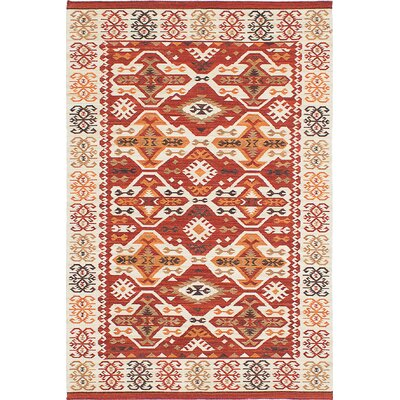 Antalya Hand-Woven Orange/Red/White Area Rug Rug Size: 4 x 6