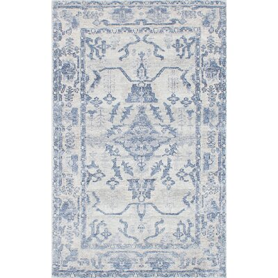 Monterey Hand-Knotted Blue/Gray Area Rug Rug Size: 5 x 8