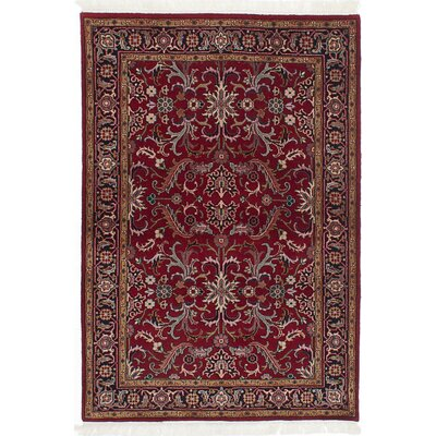 One-of-a-Kind Royal Kashan Hand-Knotted Dark Red Area Rug