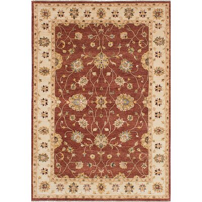One-of-a-Kind Chobi Twisted Hand-Knotted Burgundy Area Rug