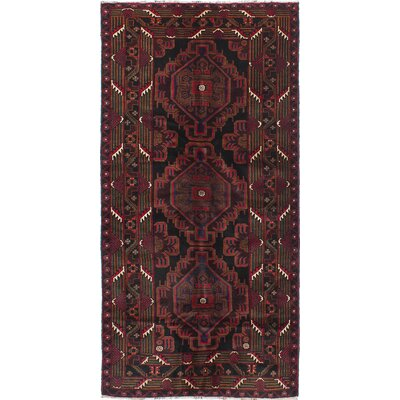 One-of-a-Kind Ingham Hand-Knotted Black/Red Area Rug