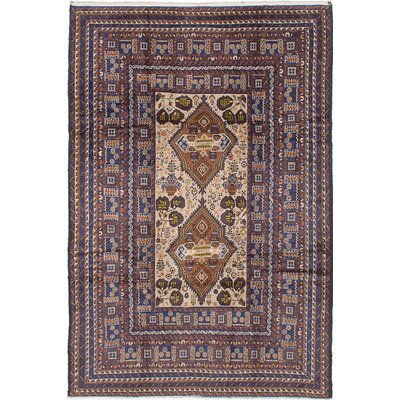 Shaffer Hand-Knotted Navy/Beige Area Rug