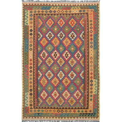Braintree Hand-Woven Green/Red Area Rug