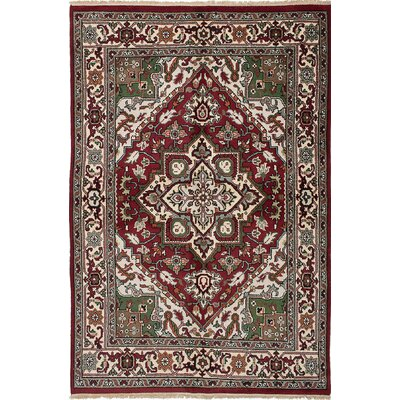 One-of-a-Kind Larsen Hand-Knotted Red/Cream Area Rug