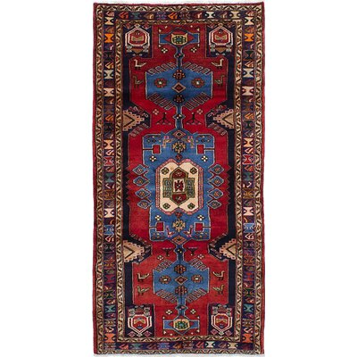 Nahavand Hand-Knotted Dark Navy/Red Area Rug