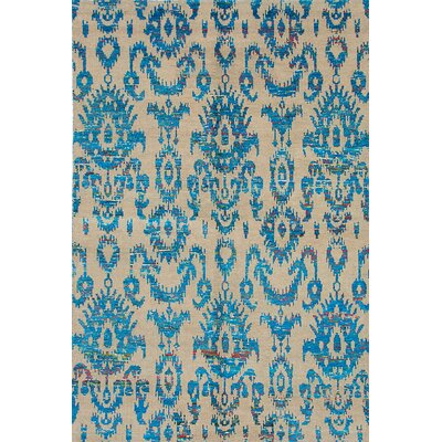 One-of-a-Kind Sari Hand-Knotted Blue/Beige Area Rug