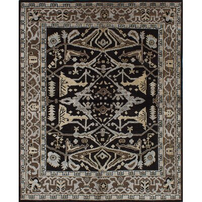 One-of-a-Kind Jules Ushak Hand-Knotted Black Area Rug