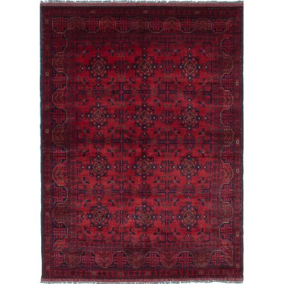 Rosales Hand-Knotted Rectangle Red/Black Area Rug
