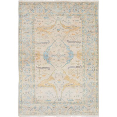One-of-a-Kind Royal Ushak Hand-Knotted Beige Area Rug
