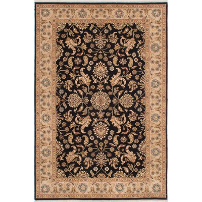 One-of-a-Kind Chobi Twisted Hand-Knotted Black/Beige Area Rug