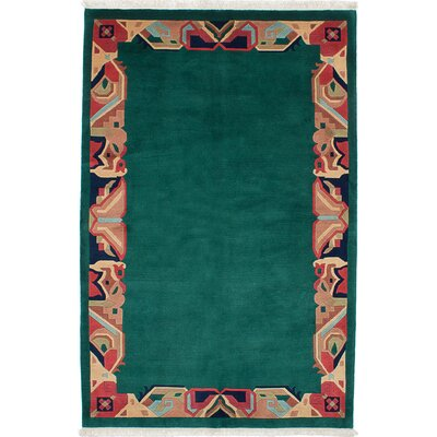 Karma Hand-Knotted Green Area Rug