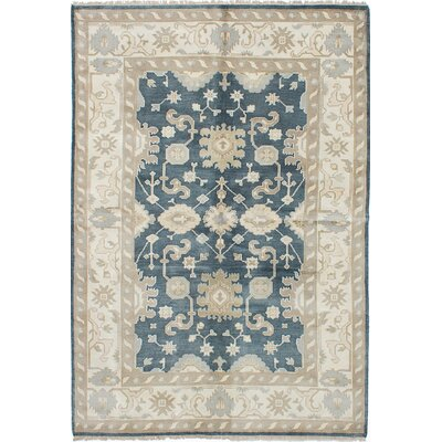 Royal Ushak Hand-Knotted Beige/Blue Area Rug