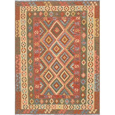Hereke Hand-Woven Orange Area Rug