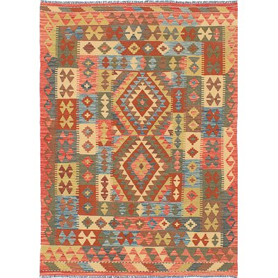 One-of-a-Kind Istanbul Yama Handmade Wool Blue/Orange Area Rug