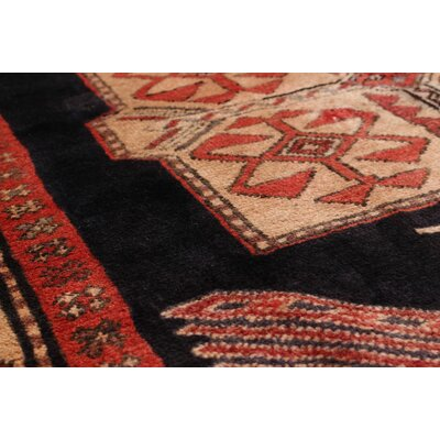 One-of-a-Kind Lin Hand-Knotted Black/Red Area Rug