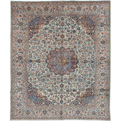 Kashan Hand-Knotted Brown/Blue Area Rug