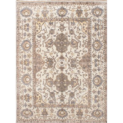 One-of-a-Kind Beth Hand-Knotted Beige Area Rug