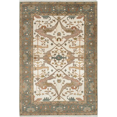 One-of-a-Kind Li Hand-Knotted Beige Area Rug