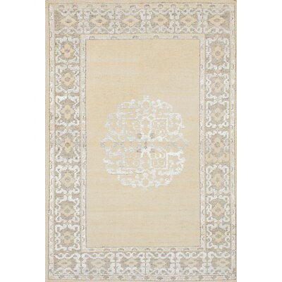 One-of-a-Kind Poplin Hand-Knotted Beige Area Rug