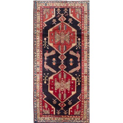One-of-a-Kind Lin Hand-Knotted Wool Blue/Red Area Rug