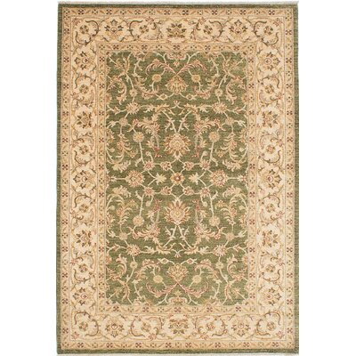 Chobi Finest Hand-Knotted Green Area Rug