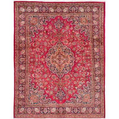 Mashad Hand-Knotted Red Area Rug
