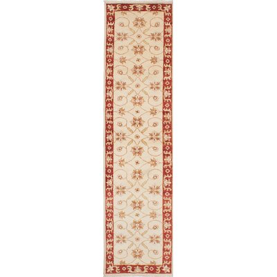 Barrows Hand-Knotted Beige/Red Area Rug
