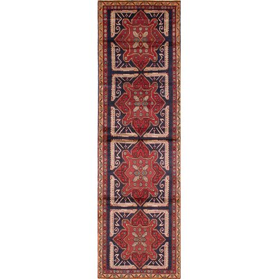 Bilboroughs Wool Hand-Knotted Blue/Red Area Rug