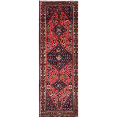 Bilbie Transitional Hand-Knotted Red Area Rug