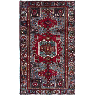 Nahavand Hand-Knotted Blue/Red Area Rug